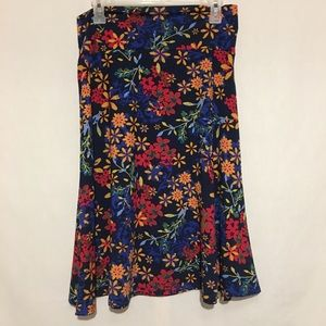 Lularoe XL Blue Floral Print Knee Length Skirt